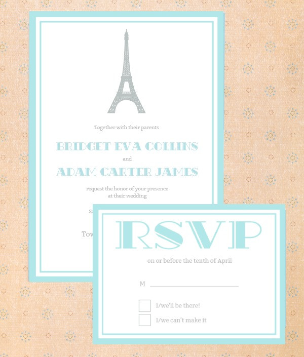 Eiffel Tower Paris Wedding Invitation Suite Free Printable