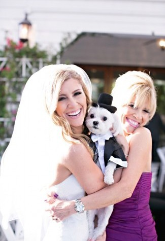 bride carrying dog dressed in tuxedo and black top hat