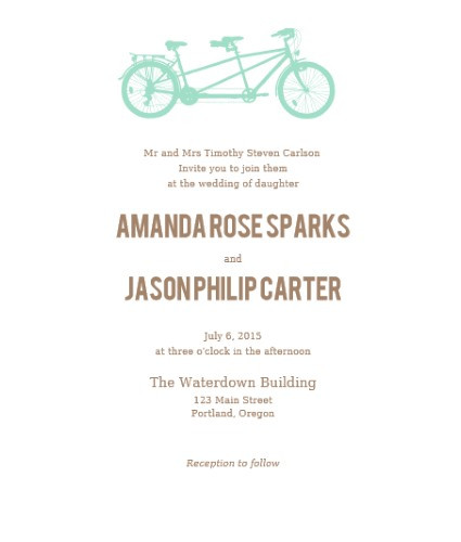 tandem bike invite sample