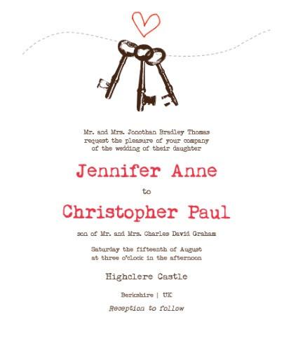 vintage keys invitation sample