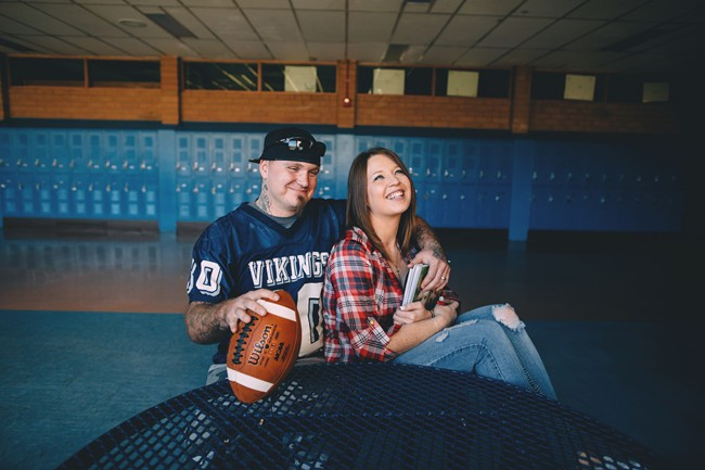 Engagement session at high school in Oregon
