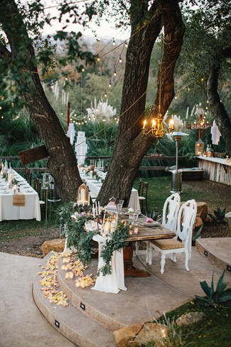 Bride and grooms table for wedding reception at The Retro Ranch in Temecula
