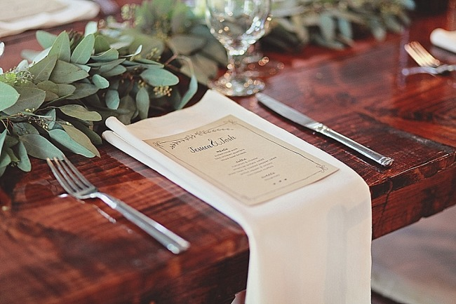 Rustic Wedding reception menu by Smitten on Paper