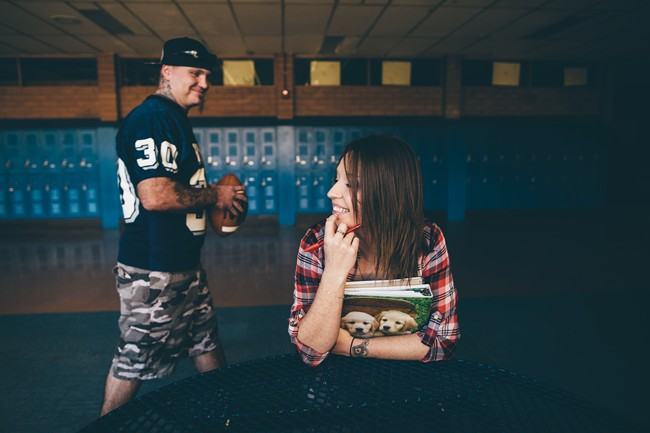 Engagement session in a high school