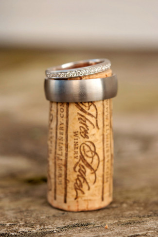 Wedding bands on a cork