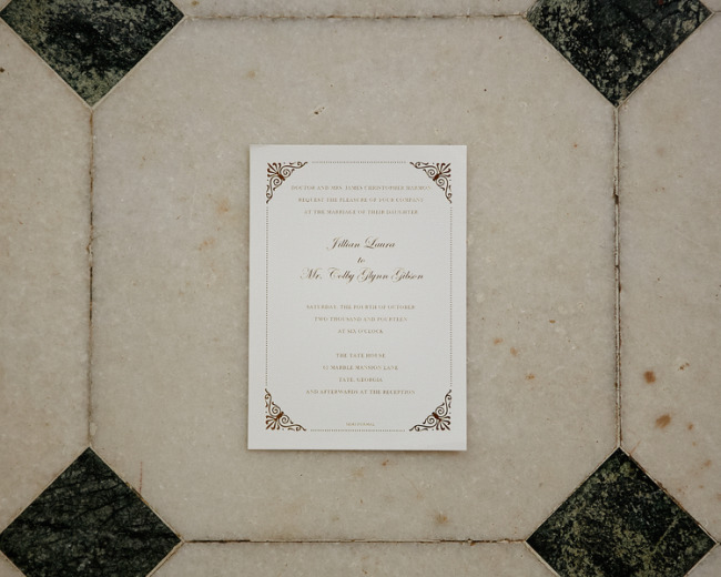 Elegant brown formal wedding invitations