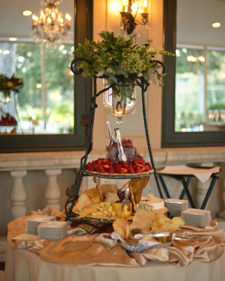 Cheese display table at Tate House Mansion wedding reception