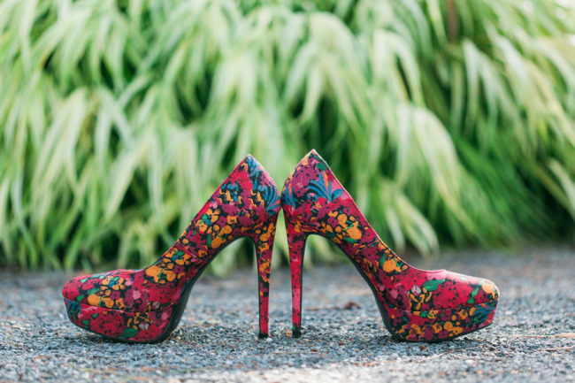 Brightly colored floral pumps
