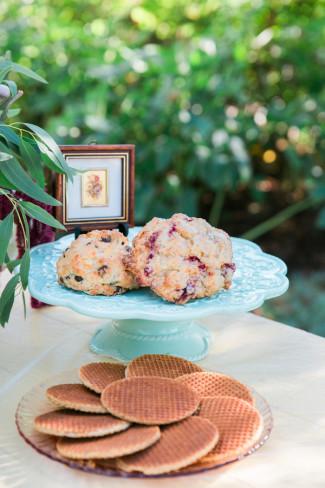 scones on baby blue platter