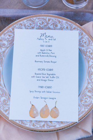Pear wedding menu created by Little Ivy Paper Goods