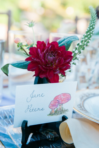 Mushroom themed place card created by Little Ivy Paper Goods