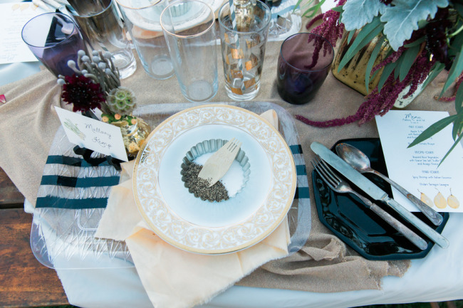 Mismatched place settings for eclectic styled shoot