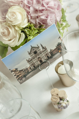 Wedding reception table number using a post card