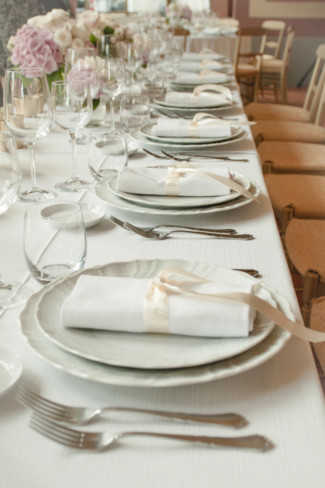 Long table for wedding reception at Museo Stibbert in Florence Italy