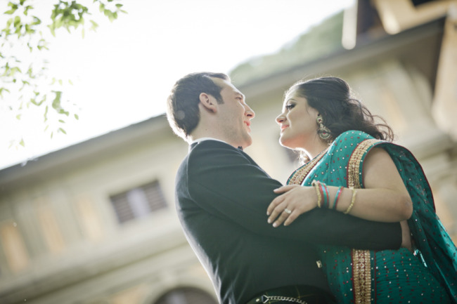 Groom wearing traditional Scottish outfit and bride wearing a saris after Florence Italy