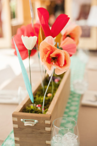 Wedding with DIY Paper Flower Centerpieces