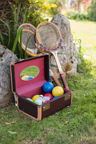 Badminton and boccee ball set for wedding guests to play at outdoor wedding