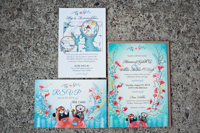Blue floral wedding invitations made by the bride