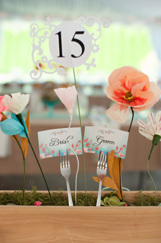 Wood square vase with paper flowers and table number for wedding reception center piece