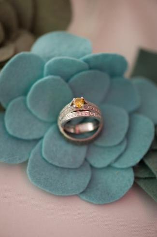 Yellow diamond engagement ring with diamond wedding band