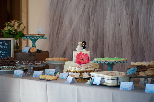 Wedding reception dessert table with homemade desserts