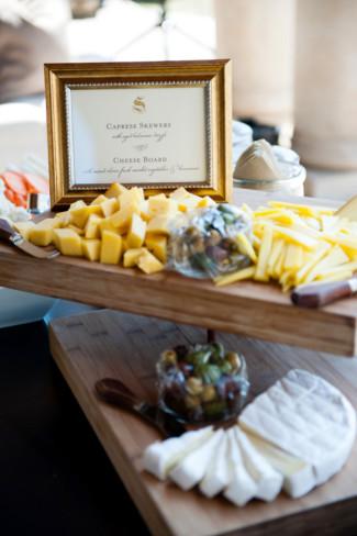 Caprese Skewers and cheese board