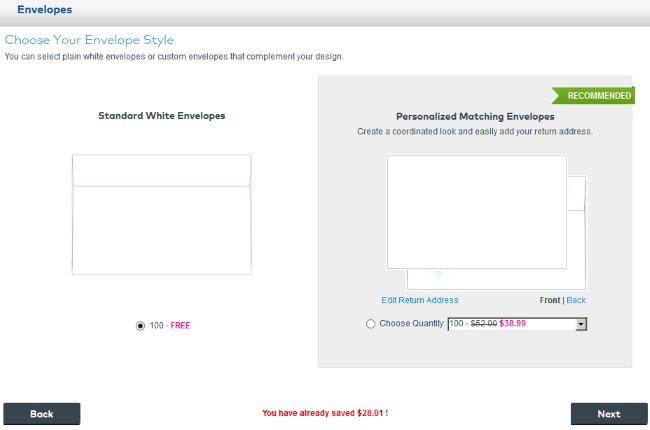 Vistaprint envelope options