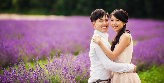 Couple standing together at Terre Blue Lavender farm in ontario