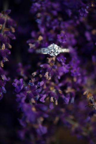 Round diamond ring in Lavender