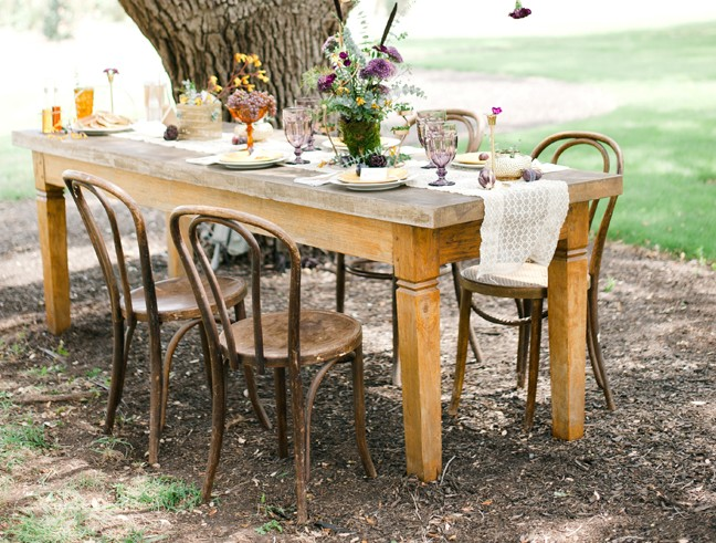 outdoor wood table and chairs for pancake breakfast in the park
