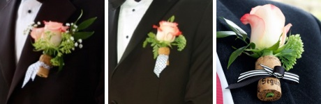 Unique boutonniere ideas: champagne cork with roses and ribbon
