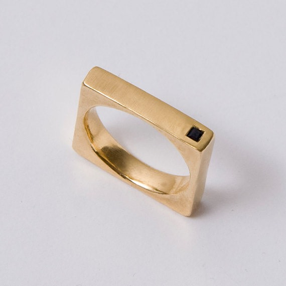 Square Unisex Wedding Ring