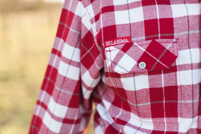 plaid shirt in Oklahoma University red color