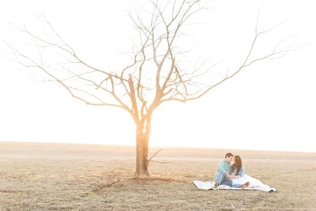 couple on blanket in open field next to barren tree