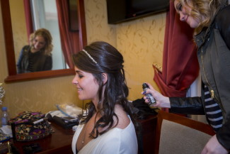 Bride getting ready at Hotel Impero Rome