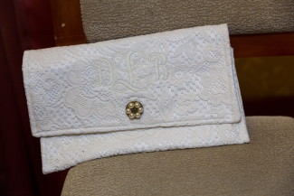 White lace bridal clutch