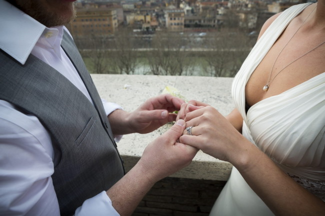 Bride and groom holding each other hands after wedding ceremony