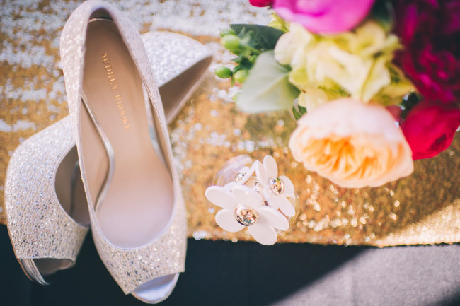 Audrey Brooke sparkling peep toe pumps for bridal attire