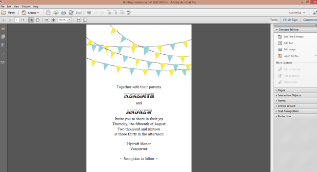 Free bunting wedding printable