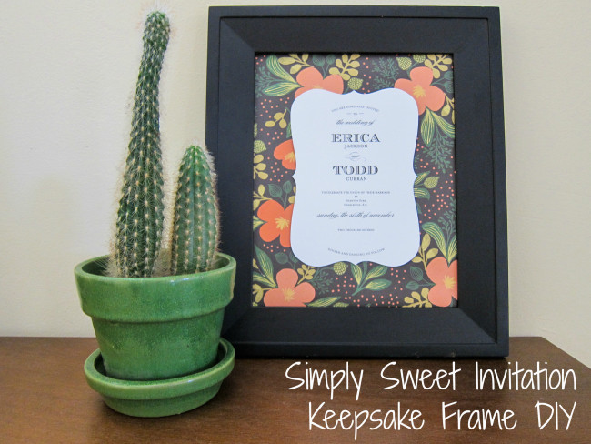 INvitation Keepsake frame