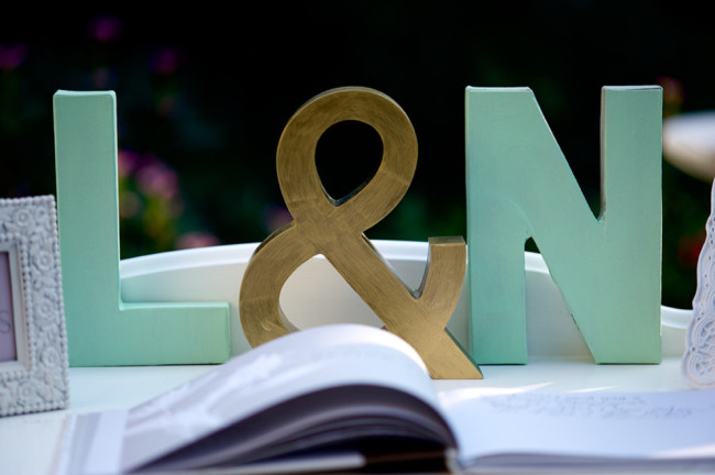 Gold and green 3-d Letters for wedding decor initials