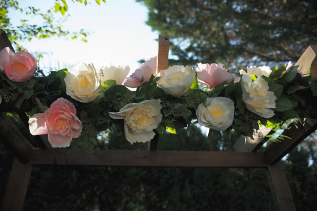 Paper peonies flowers for wedding ceremony arch