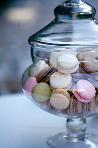 Apothecary jar full of macaroons