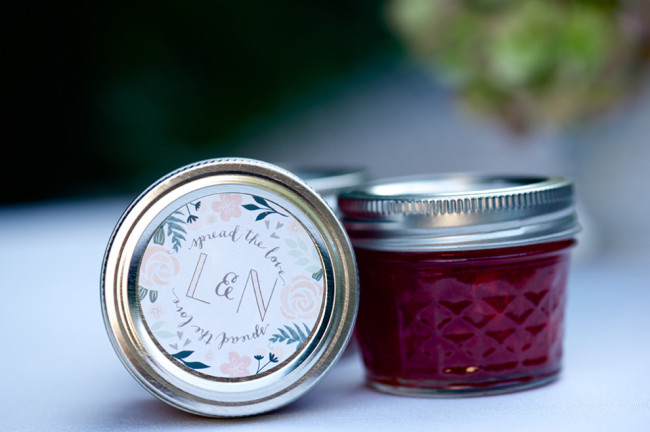 Homemade jam for wedding guest favors