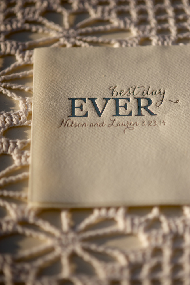 "Personalized wedding napkins that say ""best day ever"""