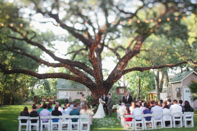 Outside-wedding-altar-with-white-christmas-tree-lights-and-tree