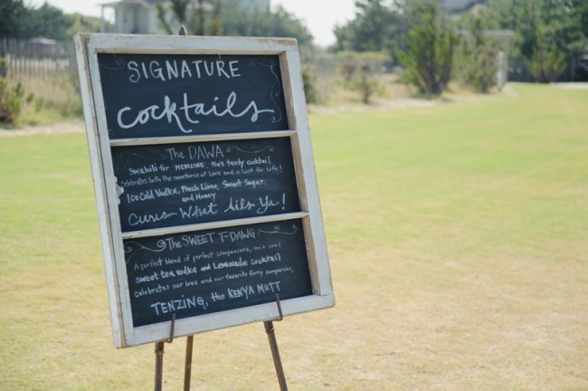 Chalkboard sign for signature cocktail sign