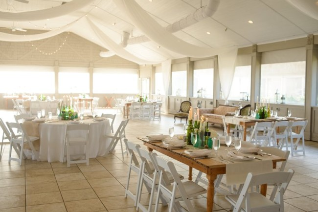 Indoor wedding reception at Sanderling Resort