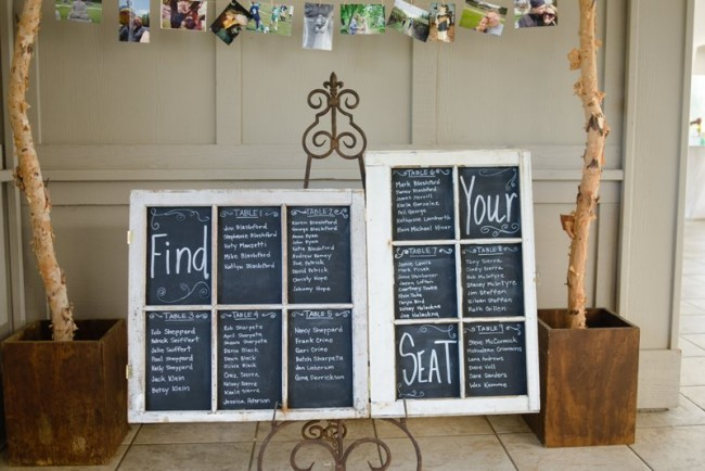 Vintage windows made into chalkboard for wedding reception seating plan