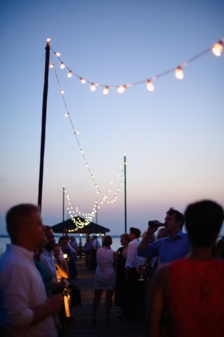 Pier at Sanderling Resort decorated with small hanging lights